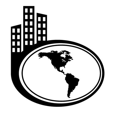 the americas: Americas map vector city icon