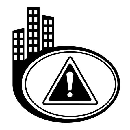 city icon: Warning black city icon