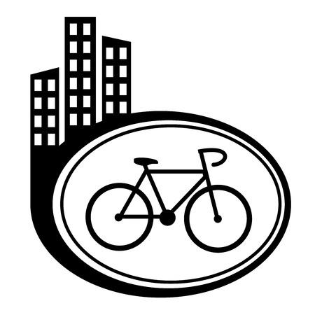 city icon: Bicycle black city icon Illustration