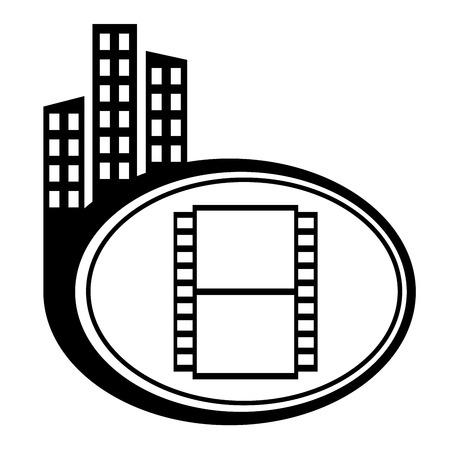 city icon: Film black city icon. Film camera
