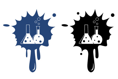 Flask with chemical reagent - Vector icon isolated Vector