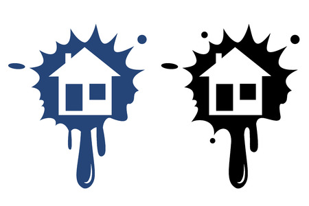 realstate: Illustration of home icons, house silhouettes on black background