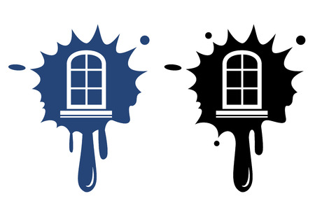 Window frame - blue and black icon isolated