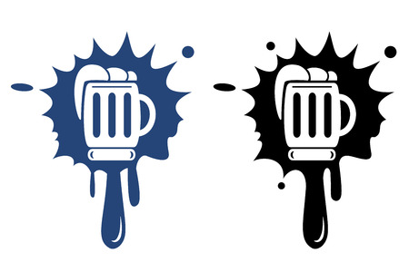 cereal bar: Beer blue and black icon Illustration