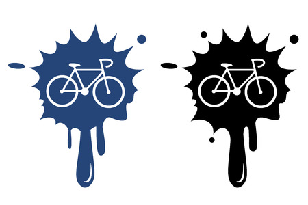 Bicycle blue and black icon Vector