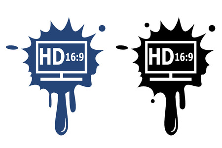 HD display blue and black icon Vector