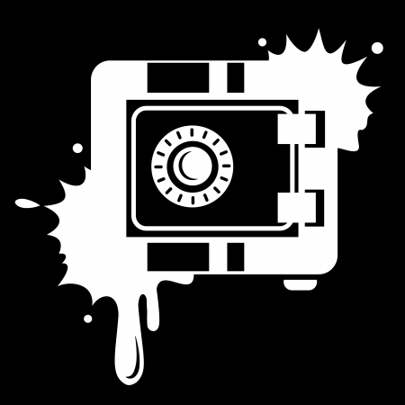 Metal Safe Icon. Security concept. White blot Vector