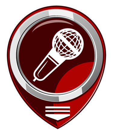 Microphone red map pointer isolated Vector