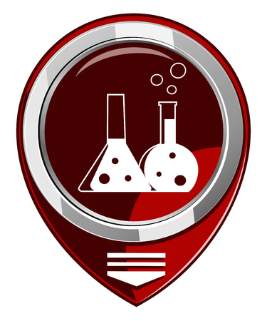 reagent: Flask with chemical reagent - red map pointer  isolated
