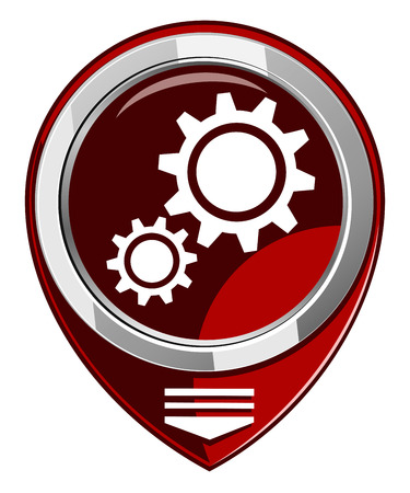 Service red pointer. Gear icon Vector