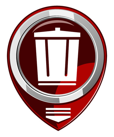 trash can red map pointer Stock Vector - 22457890