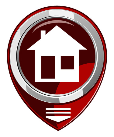 realstate: Illustration of home icons, house silhouettes red map pointer