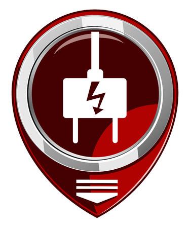 electric plug: Presa elettrica - mappa rosso puntatore isolato Vettoriali