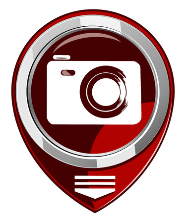 Photo camera - red map pointer isolated