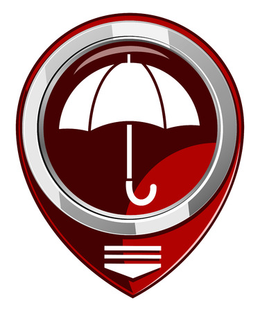Umbrella - red map pointer isolated Vector