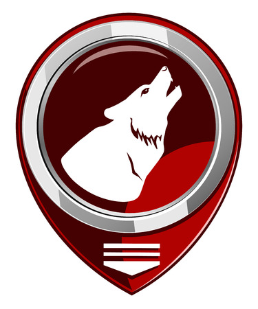 Icon wolf howling at the moon. Red pointer Vector