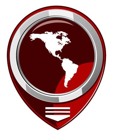 north america map: Americhe rosso mappa puntatore