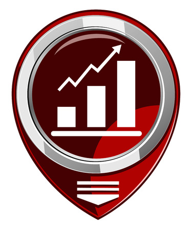 Graph Icon. Red map pointer Stock Vector - 22458018