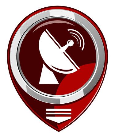 Radio radar transmitting signal - red map pointer