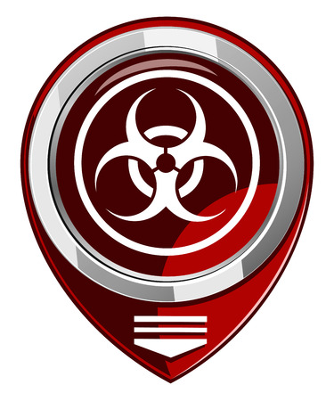 Warning symbol biohazard red map pointer Vector