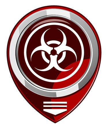 biological warfare: Warning symbol biohazard red map pointer