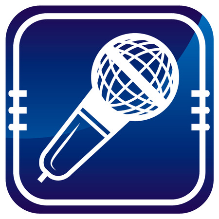 Microphone on blue button