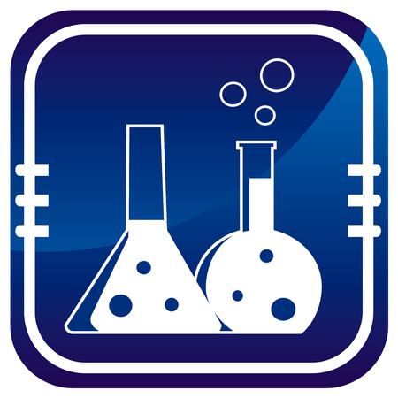 Flask with chemical reagent - on blue button Vector