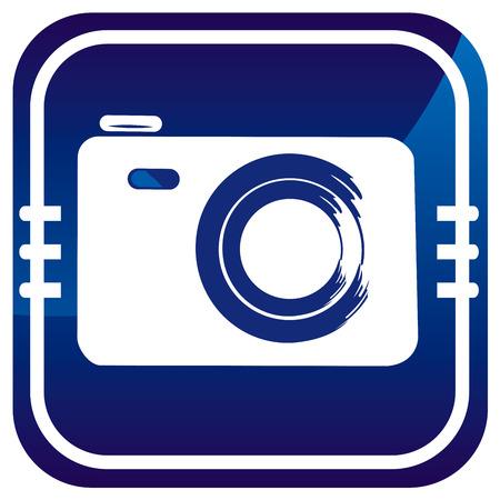 Photo camera - on blue button