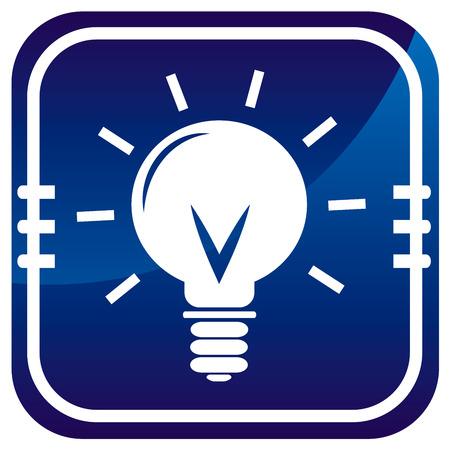 Light bulb on blue button Vector