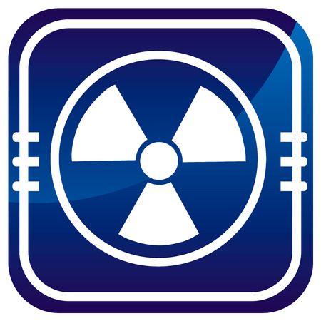 Radioactive on blue button Stock Vector - 22458054