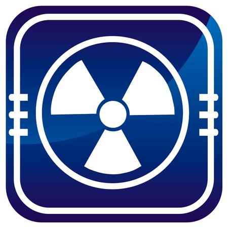 Radioactive on blue button Stock Vector - 22458054