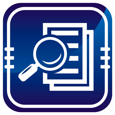Magnifying glass - Search the document on blue button Illustration