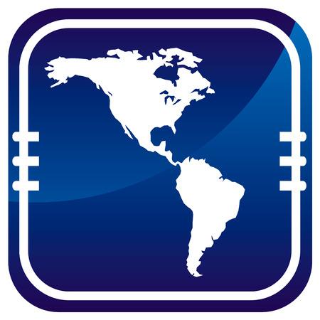 north america map: Americhe mappa sul pulsante blu Vettoriali