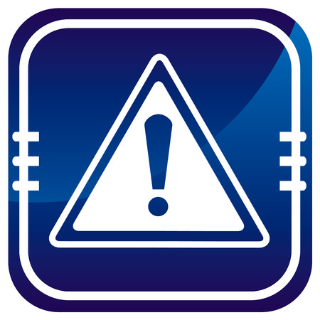 Warning sign on blue button Stock Vector - 22458112