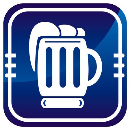 Beer sign on blue button Stock Vector - 22458111