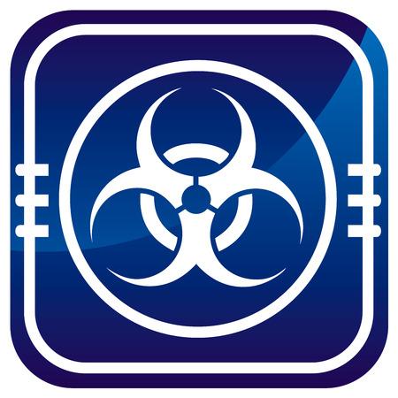 germ warfare: Warning symbol biohazard map pointer Illustration