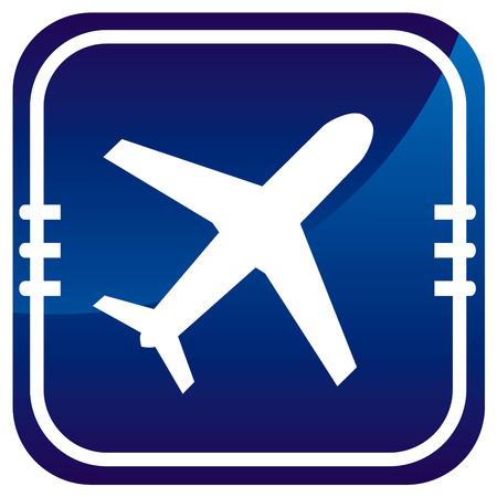 etiquette voyage: Avion - icône bleue Illustration