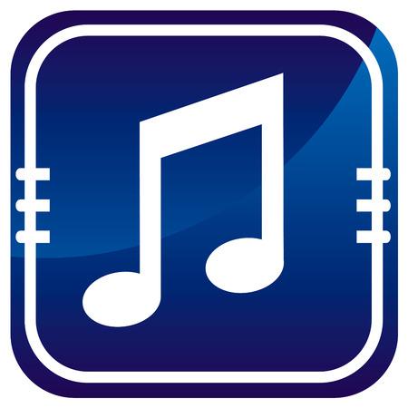 pc tune: Music blue glossy web icon