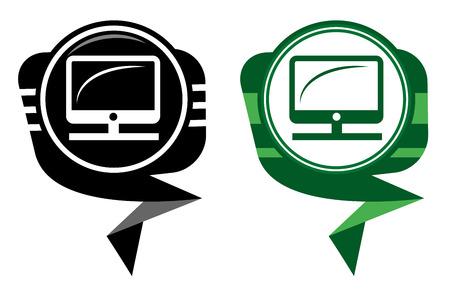 Vector desktop computer black and green pointer Stock Vector - 22587782