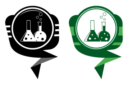 reagent: Flask with chemical reagent - black and green pointer Illustration