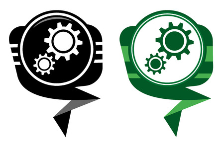 Service black and green pointer. Gear icon Vector
