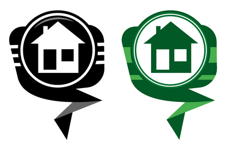 Illustration of home icons, house silhouettes black and green pointer Vector