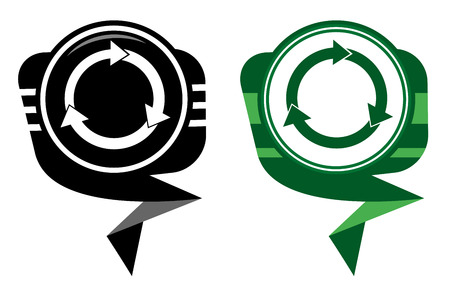 Arrows circle black and green pointer Vector