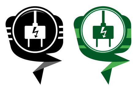 unplugged: Enchufe el�ctrico - puntero negro y verde Vectores