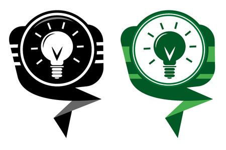 Light bulb black and green pointer Stock Vector - 22587816