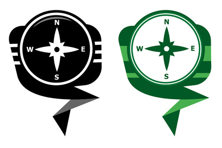 Compass directions - black and green pointer Vector