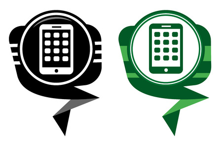 Mobile phone black and green pointer. Modern smartphone mobile device Vector
