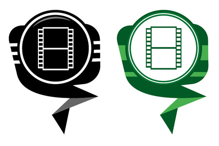 Film black and greenmap pointer. Film camera Vector