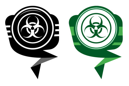 Warning symbol biohazard black and green map pointer Vector