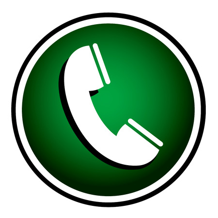 Telephone receiver vector green icon Vector